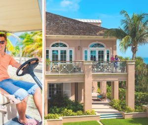 A brother and sister drive the family golf cart (left); A couple enjoy oceanfront views from the Orchid Island Beach Club