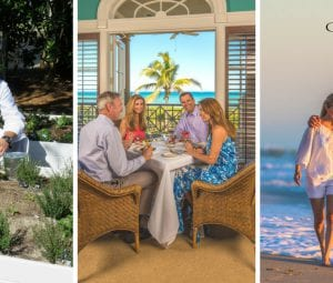 Three images, on the left is Orchid Island's premier Chef, in the middle, two couples enjoy some fine dining at the Beach Club, on right a couple takes a romantic stroll along the beach.