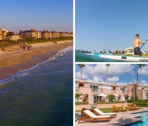 Collage image featuring and aerial beach side of the Orchid Island clubhouse, image of a couple paddle boarding on the ocean, last image is the resort-style pool at the clubhouse